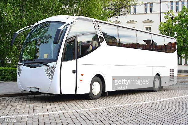 white bus - coach bus stock photos and pictures