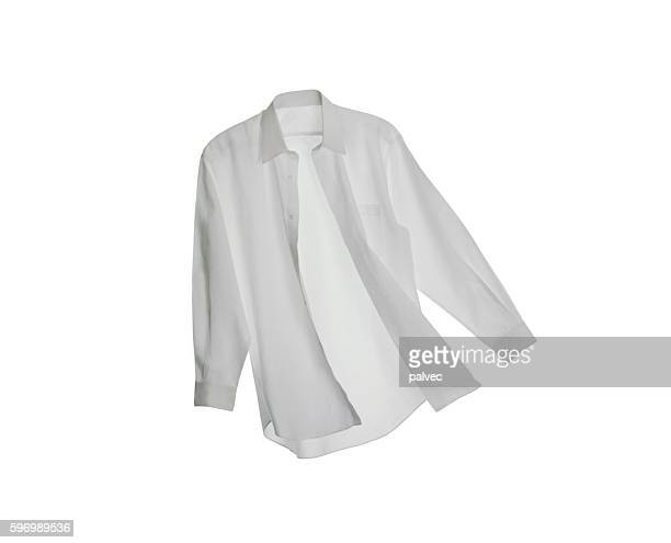 a white button down shirt on a white background - weißes hemd stock-fotos und bilder