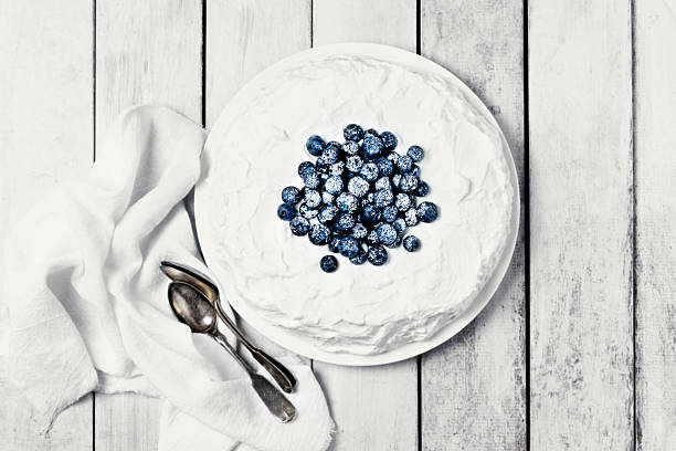 White Cake With Blueberries Wall Art
