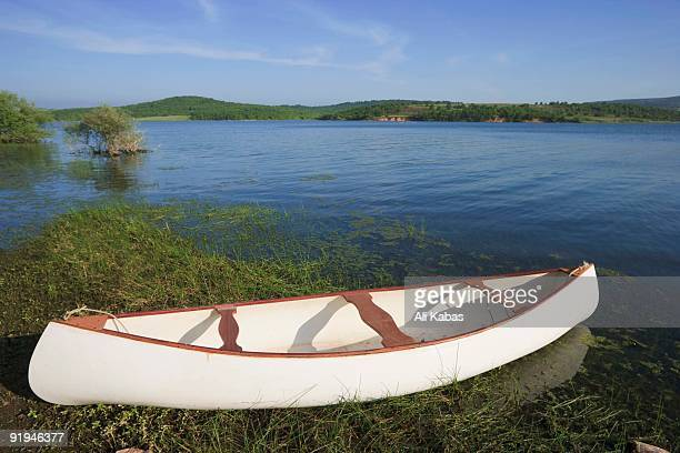 White canoe by Lake Omerli, Istanbul, Turkey