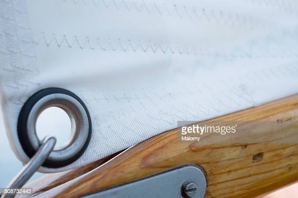 White Canvas. Close-Up. Classic traditional sailing boat. Sail.