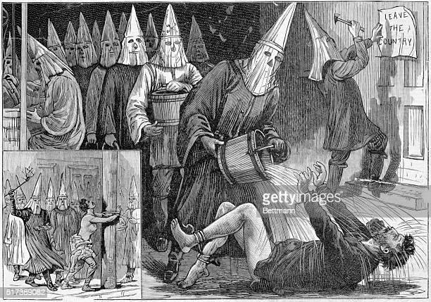 White Caps in Kansas Ku Klux Klan vigilantes Undated engraving