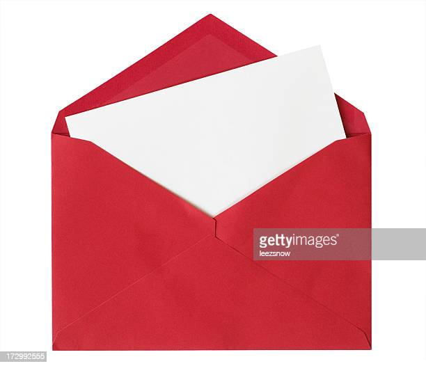 White Card in Red Envelope - Isolated