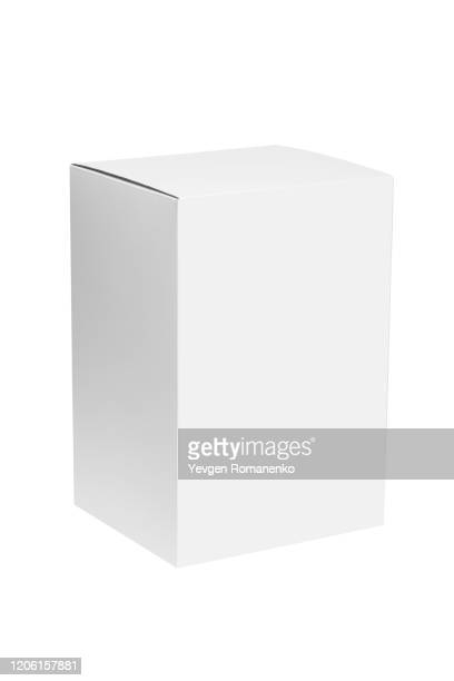 white cardboard box isolated on white background - packaging stock pictures, royalty-free photos & images