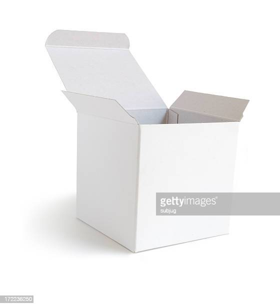 White cardboard box with the lid opened