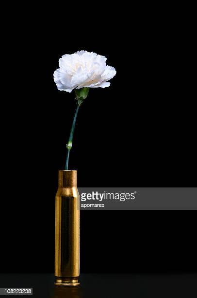 White Carnation inside ammunition shell - Peace symbols