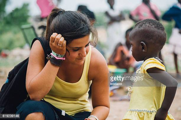White caucasian people and black african people enjoying life