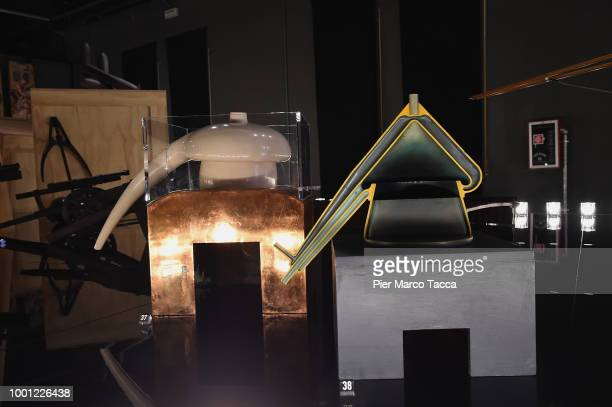 White ceramic alembic on copper structure interpretation by Ladislao Reti to Leonardo's drawing of the Atlantic code f216 r is displayed during the...