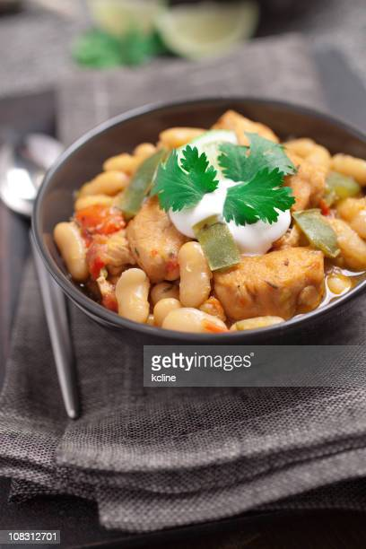white chicken chili - lima bean stock photos and pictures