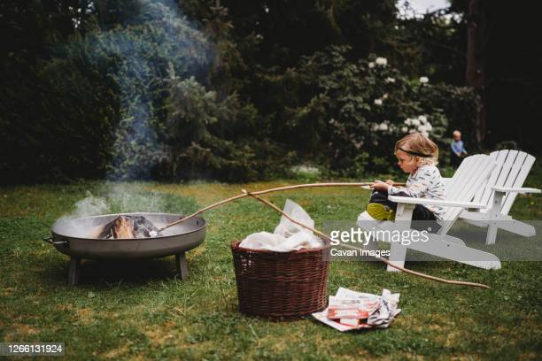 white child holding stick sitting on chair making smores in bonfire - school cane stock pictures, royalty-free photos & images