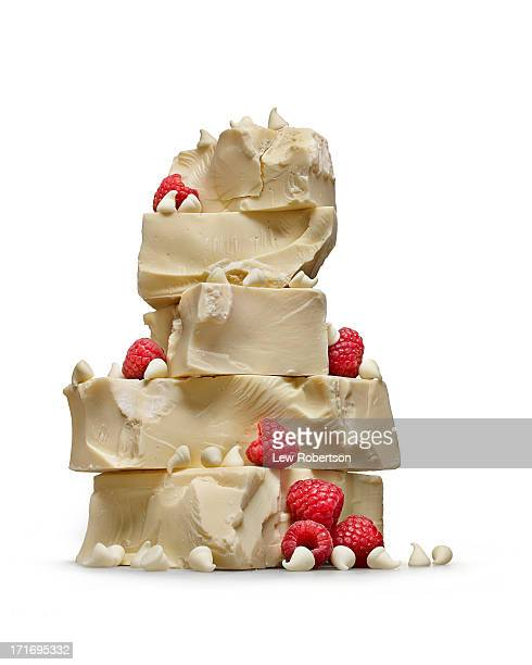 white chocolate and raspberries - white chocolate stock photos and pictures