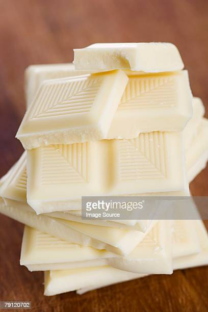 White chocolate bars in a pile