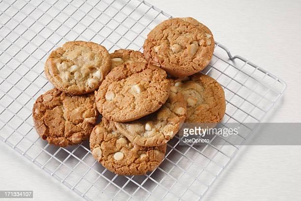 Blanc Cookies aux pépites de chocolat et aux noix de Macadamia sur inoxydable