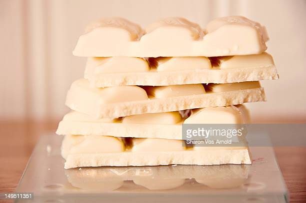 white chocolate stack - white chocolate stock photos and pictures