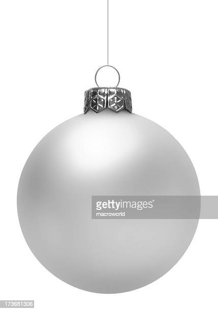 white christmas ball (isolated) - silver metal stock pictures, royalty-free photos & images