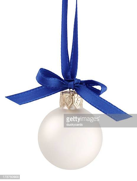 White Christmas Ornament with Ribbon