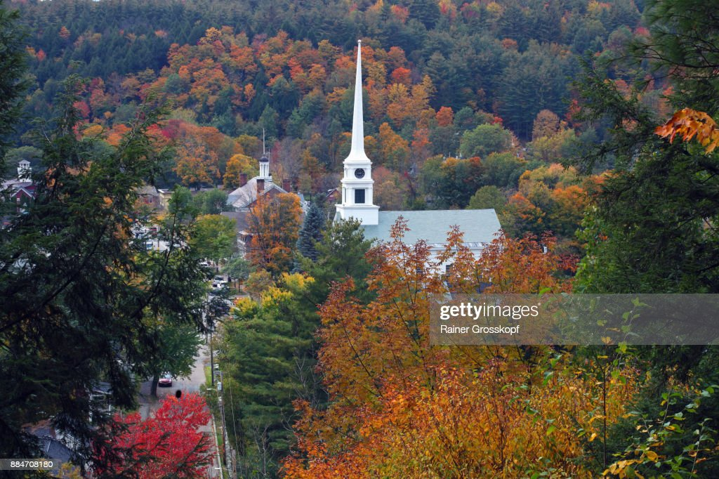 White Church and village of Stowe : Stock-Foto