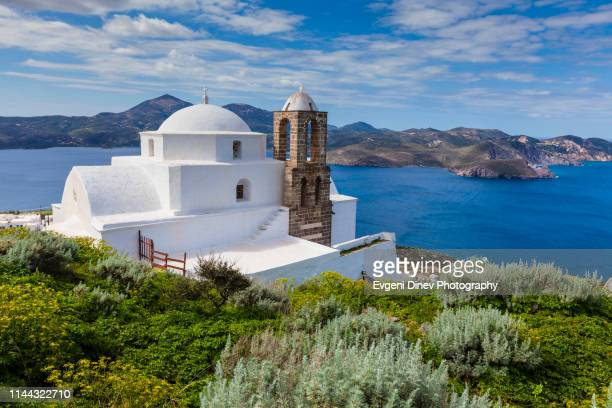 white church by the blue sea - aegean sea stock pictures, royalty-free photos & images