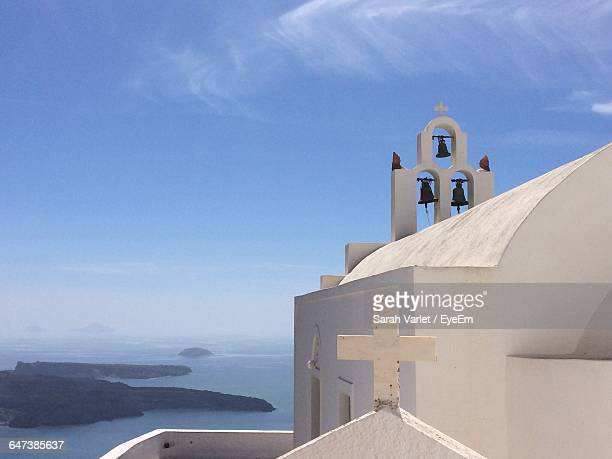 White Church In Imerovigli At Santorini Against Sky