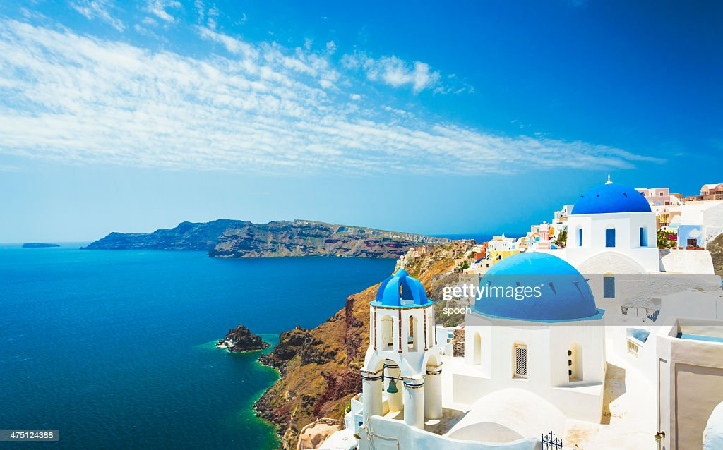 White church in Oia town on Santorini island in Greece : Stock Photo