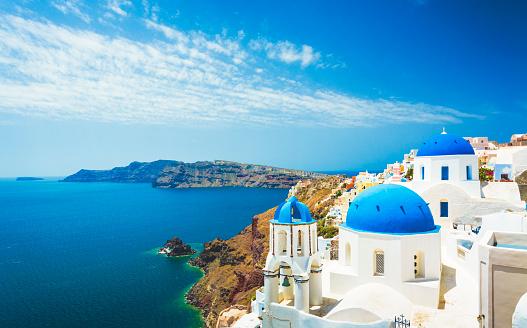 White church in Oia town on Santorini island in Greece 475124388