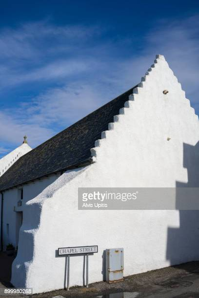 White church in Portmahomack, Scotland