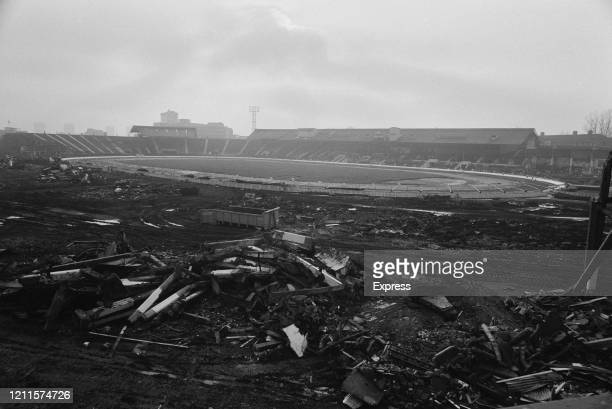 White City Stadium, which was originally built for the 1908 Summer Olympics, during its demolition, in London, England, 4th January 1985.