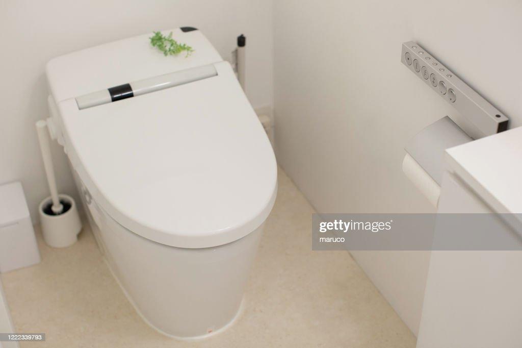 white clean toilet in washing closet : Stock Photo