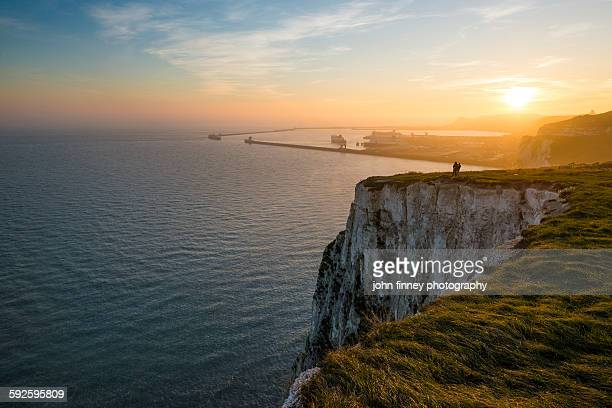 white cliffs of dover sunset - english channel stock photos and pictures