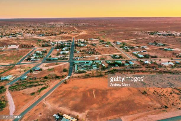 white cliffs, opal mining town, australia, aerial photography - town stock pictures, royalty-free photos & images