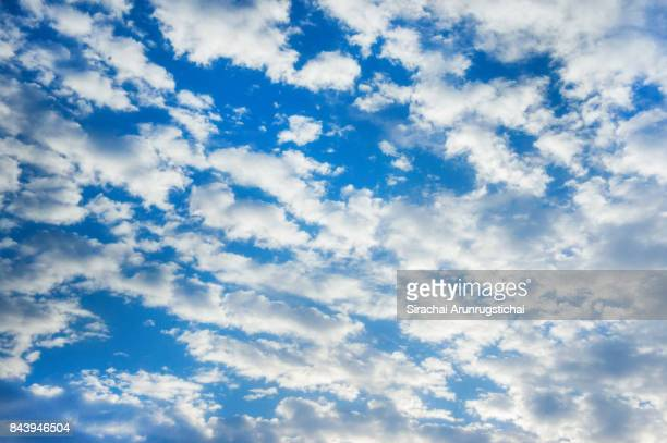 white clouds (altocumulus) against clear blue sky - altocumulus stockfoto's en -beelden