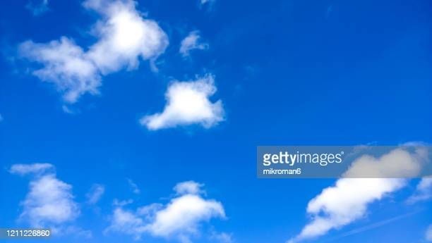 white clouds in summer blue sky - cloud sky stock pictures, royalty-free photos & images