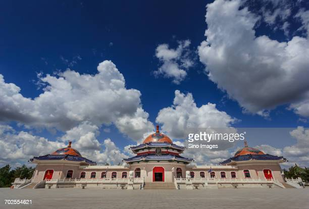White clouds over Mausoleum of Genghis Khan