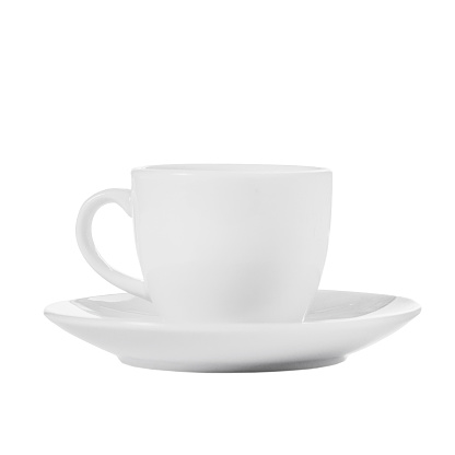White coffee cup from a cup and saucer isolate on a white background 952007592