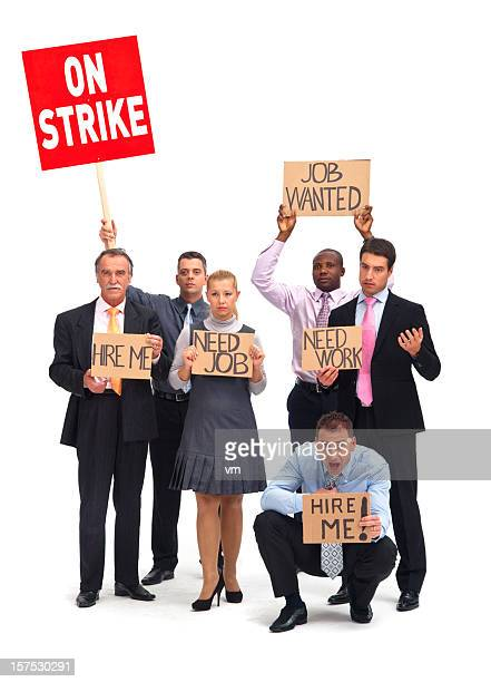 White collars workers on strike