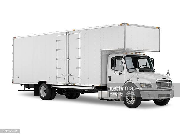 White commercial truck on a white background