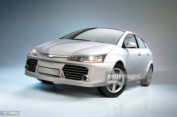 white compact car - compact car stock photos and pictures