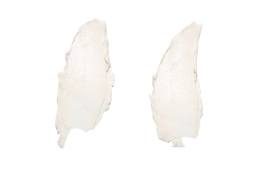 White cream swatches isolated on white background. Face cream lotion samples texture. 944527644
