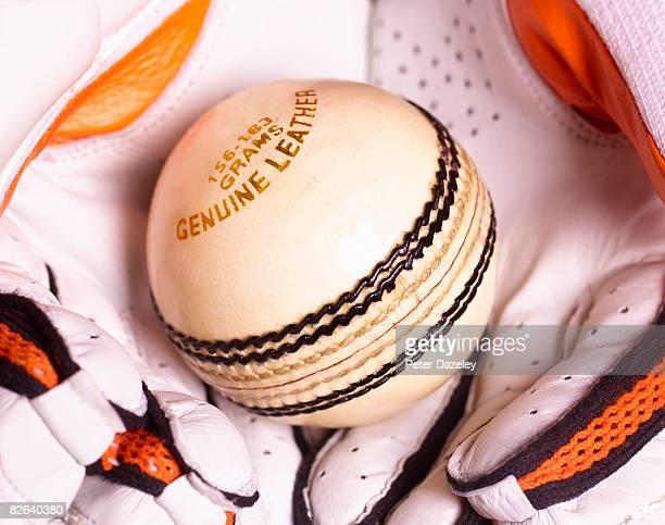 White cricket ball caught in gloves