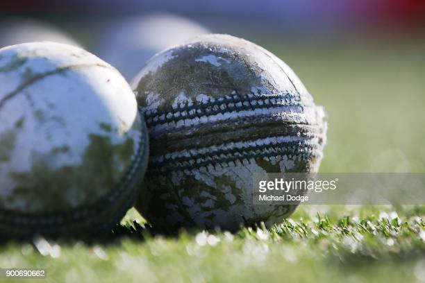 A white cricket ball is seen during the Big Bash League match between the Melbourne Renegades and the Sydney Sixers on January 3 2018 in Geelong...