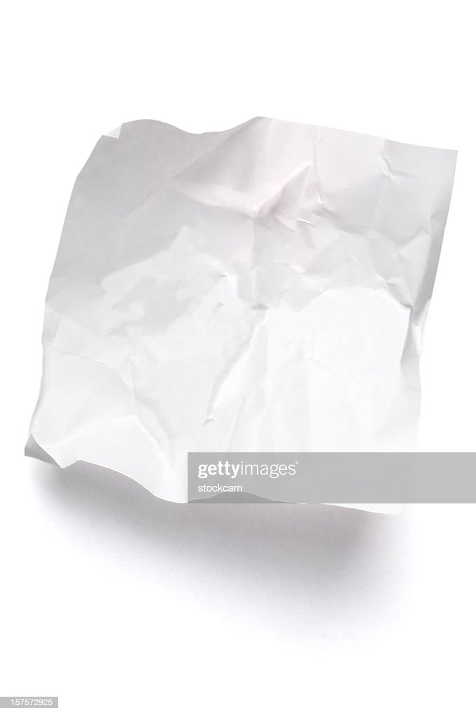 White crumpled note paper isolated : Stock Photo