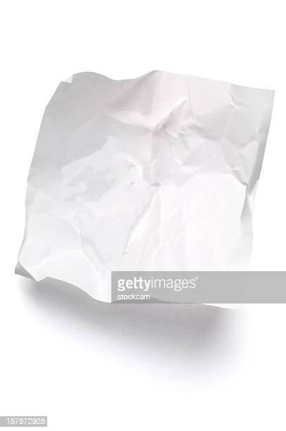 White crumpled note paper isolated