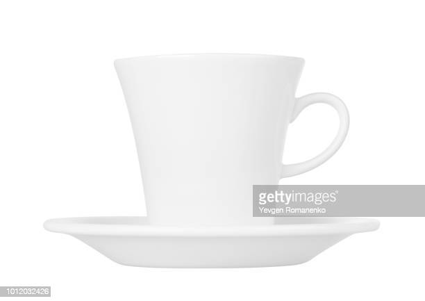 white cup with saucer isolated on white background - platillo fotografías e imágenes de stock