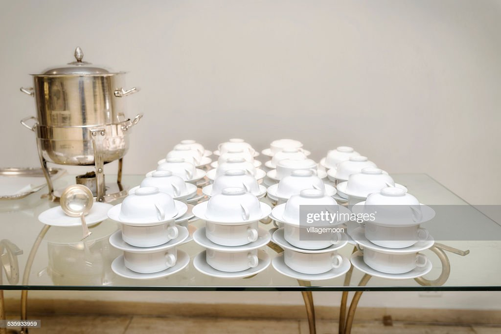 White cups on the table : Stock Photo