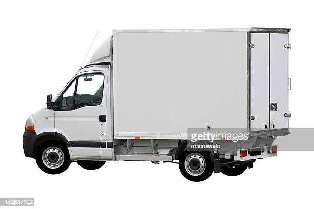 white delivery truck with box shape - small stock pictures, royalty-free photos & images