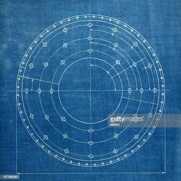 White detailed lines of a circular blueprint