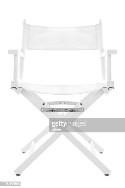 White directors chair isolated on white with path