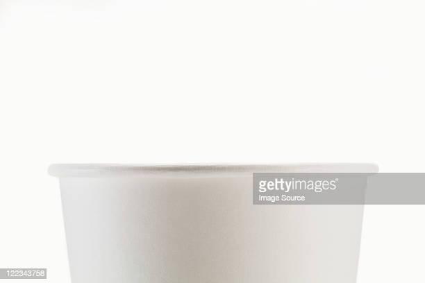 Tasse jetable blanc, gros plan