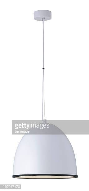 white dome ceiling light on a white background - lamp stock photos and pictures
