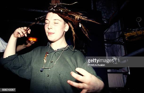 White dreaded person dancing Megatripolis London UK 1990s.